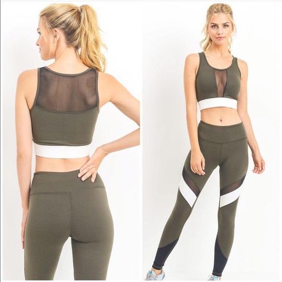 9ddb4cda59125 Mono B Pants | Olive Green Fitness Set | Poshmark